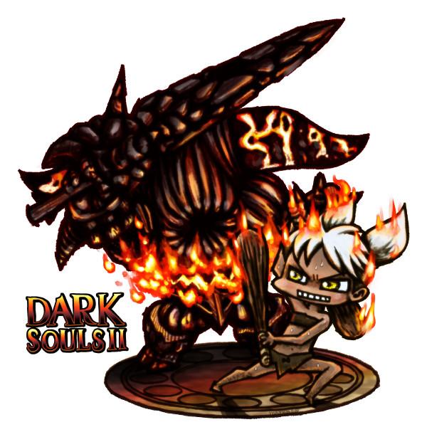 ダークソウル2の自キャラと溶鉄デーモンを描いてみた!